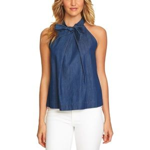 NWT CeCe XS Nordstrom Chambray Denim Bow Tie Tank